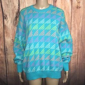 Vintage Tiffany Blue & Neon Triangle Sweater